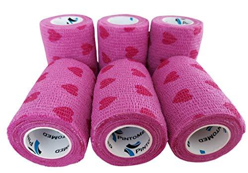Venda Cohesiva Love Rosa 6 Rollos x 7,5 cm x 4,5 m Autoadhesivas Vendaje Flexible, Calidad Profesional, Primeros Auxilios, Lesiones de los Deportes, Rodillos embalados Individualmente - Pack de 6