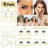 DYFFLE 8 Stück Festival Glitzer Gesichts Tattoo, Flash Tattoos Face Tattoo Wasserdicht Temporäre...