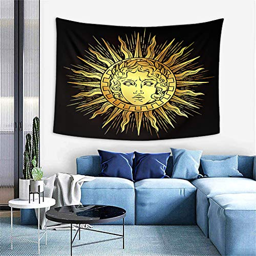 Sun Tapestry,Antique Style Sun Face of The Greek and Roman God Apollo Flash Tattoo Or,Wall Hanging Wall Decor Blanket for Bedrooms Living Room Tablecloth Dorm Home Decor - 50'X60'