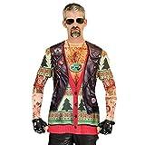 Faux Real Men's 3D Photo-Realistic Ugly Christmas Sweater Long Sleeve T-Shirt, Biker Xmas Tattoo, Medium