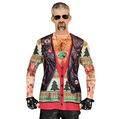 Faux Real Men's 3D Photo-Realistic Ugly Christmas Sweater Long Sleeve T-Shirt, Biker Xmas Tattoo, X-Large