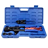 IWISS PEX Pipe Crimping Tool Kit for 3/8,1/2,3/4,1-inch Copper Ring with Free Gauge&Pex Pipe Cutter for All US F1807 Standards