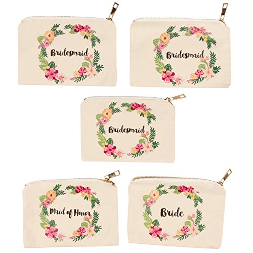 Floral Makeup Bag, Bachelorette Party Gifts (7 x 4 in, 5 Pack)