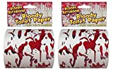 Forum Novelties Bloody Bathroom Toilet Paper, Red/White - Pack of 2