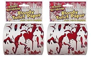 Forum Novelties Bloody Bathroom Toilet Paper Red/White - Pack of 2