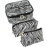 SUBANG 3 Pack Zebra Makeup Bag Toiletry Bag Travel Bag Portable Cosmetic Bag Makeup Brushes Bag Waterproof Organizer Bag for Women Girls Men