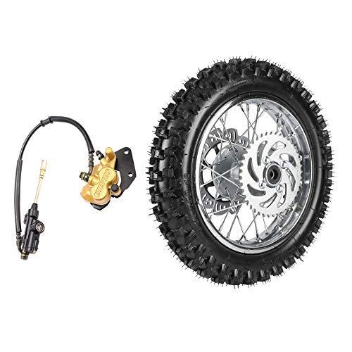 ZXTDR 3.00-12 1.85x12 Rear Wheel With 12mm Bearing Axle 80/100-12 Tire Rim & Brake Disc Rotor and Sprocket & Hydraulic Disc Caliper Brake for Dirt Pit Bike
