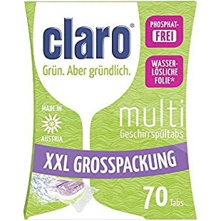 Claro All-in-1 - Phosphate-Free Eco Dishwasher Tablets in Value Pack - Package with 70 Pieces:Delocitypvp