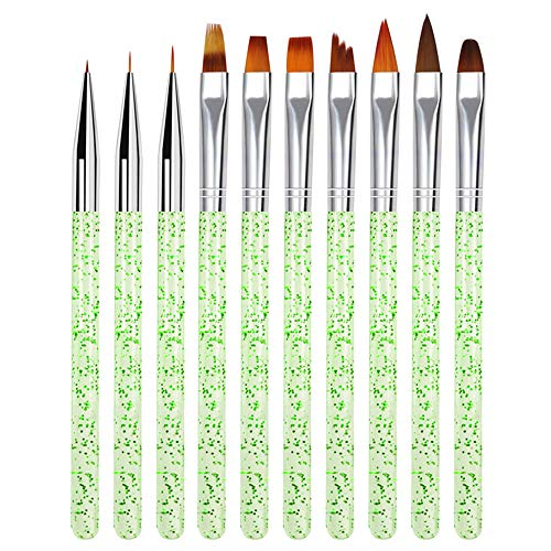 Nail Pen Designer,10pcs Nail Brushes, Nail Brushes for Acrylic Powder, Suitable for Beginners, Professionals and Artists (Green)