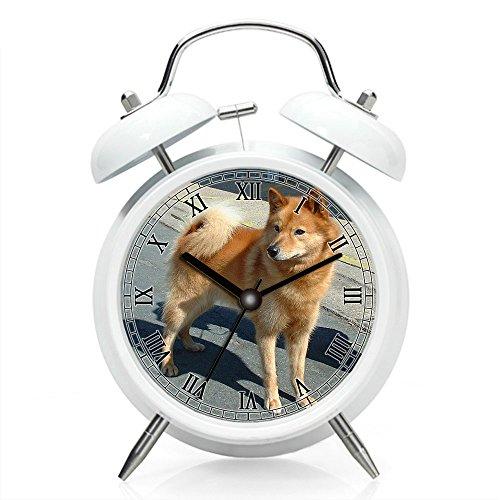 Reloj despertador para mesita de noche con luz de fondo, funciona con pilas, reloj despertador redondo con doble campana (patrón individual) 152. finlandés Spitz 600