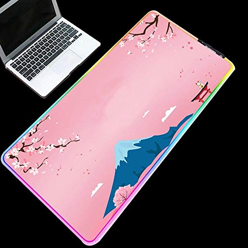 Pink Cherry Blossom Mount RGB Gaming Mouse Pad Cute Gaming Accessories USB Keyboard Mat for Girl PC,Laptop,Desk-11.81'x27.56'