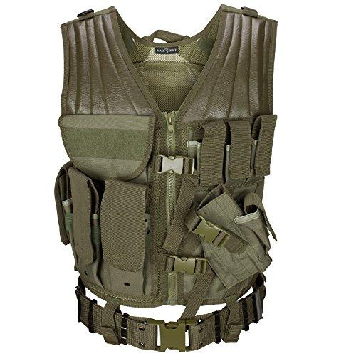 USMC Einsatzweste mit Koppel Tactical Vest Paintball Airsoft Softair Weste BlackSnake® - Oliv