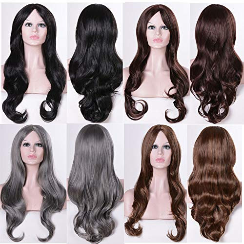 EUXHY European and American Wigs Anime Cos Wigs Long Curly Hair High Temperature Silk Fluffy Face Trimming Wig