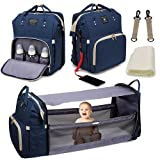 Diaper Bag Backpack, 3 in 1 Mommy Bag with Changing Station, Travel Bassinet Foldable Baby Bed, Baby Bag Portable Crib with Bed and Diaper Bag, Large Capacity, Waterproof, USB Charging Portable(Blue)