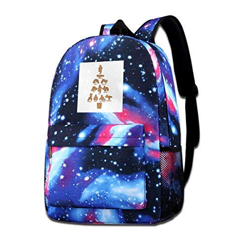 Zaino Gingerbread Man Yoga Stampa Natalizia Leggero Star Sky Zaino Fashion Daypack Borsa A Tracolla Accogliente Anime Cartoon Casual