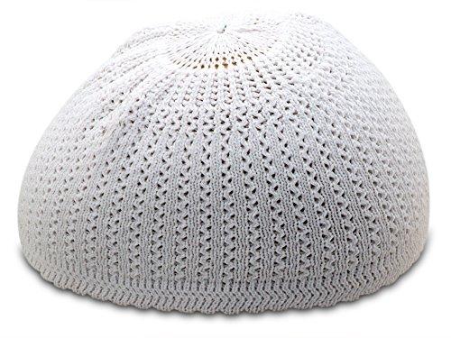 Muslim Bookmark Solid Colored Elastic Skull Cap Kufi Hats (White Wavy)
