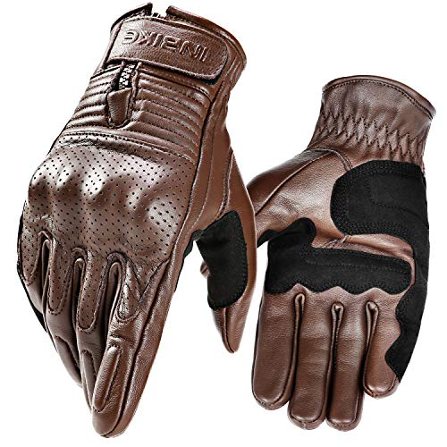 INBIKE Motorcycle Genuine Leather Gloves Men's Protective Motorbike Gloves Brown X-Large