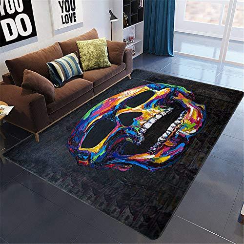 Alfombra Para Salón,3D Print Color Skull Graffiti Grand Tapis Antidérapant, Color Visual Art Soft Floor Mat, Salle De Salon De Cuisine Playroom Tapis Pour La Décoration De La Maison, 100X160Cm (39