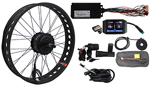 HalloMotor BAFANG 48V 750W Freehub Fat Tire Cassette Rear Wheel 190mm Ebike Conversion 20' 24' 26' Kits with 750C Color Display for fatbike (20 inch)