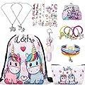 RLGPBON Pack de 5 Regalos de Unicornio para niñas, Mochila con cordón Bags/Maquillaje Bolsa/Collar Aleación Cadena/Lazos para el Cabello