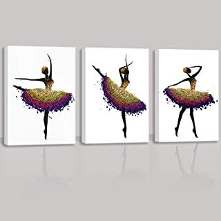 ARTSPIRIT Living Room Decor Wall Art Decor Abstract Black American Women Black Art African Woman Dancing Lady Painting Canvas Pictures for Bedroom Artwork for Girls Room