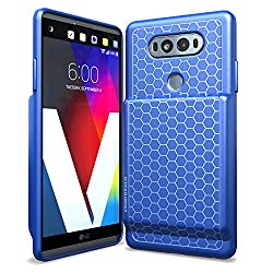 powerful Hyperion LG V20 Extended Battery Compartment, TPU Honeycomb Body and Active Damping (Blue)