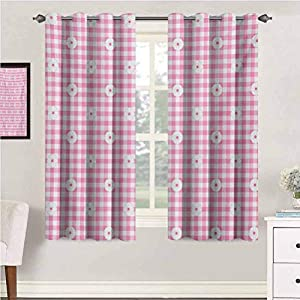 Pale Pink Treatments Window Curtain Checkered Striped Tartan Background with Daisy Petals Pastel Style Print Curtains for Baby Nursery Room 63″ x 63″ Baby Pink White