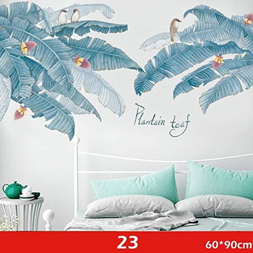 Pegatinas de pared de hojas verdes grandes para sala de estar, dormitorio, comedor, decoración, calcomanías de pared, póster, murales, guardería para bebés 23