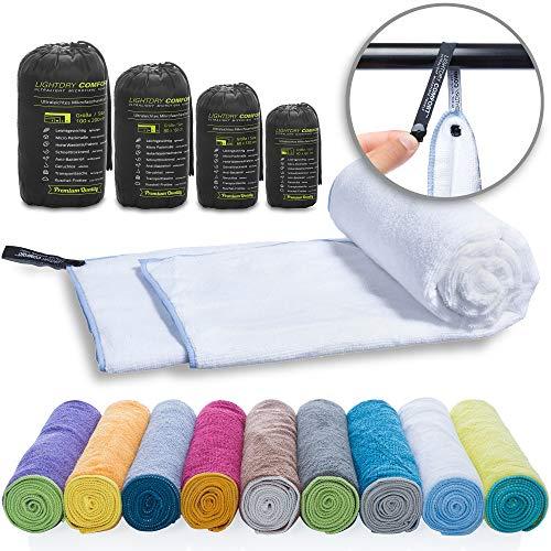 LightDry Mikrofaser Handtuch Reisehandtuch für Sport und Trekking, Extra saugfähig & antibakteriell, 80x40cm, Weiß