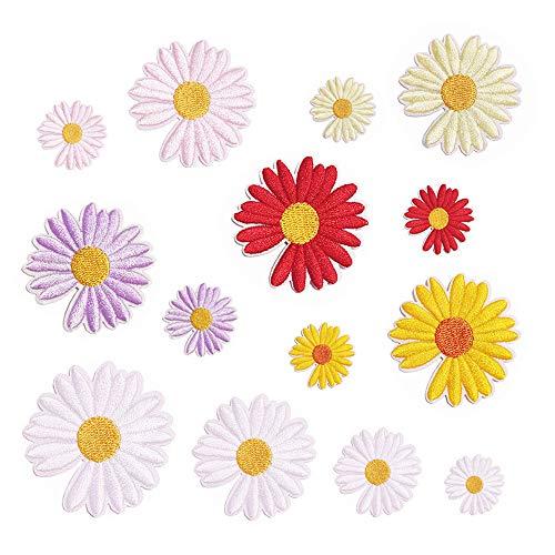 Bügelflicken Set Gänseblümchen Bügelflicken, Geeignet für Mädchen Hoodie Flicken zum Aufbügeln,Blumen Aufnäher Chrysanthemen Applikation, Verwendet für t-Shirts, Jacken, Rucksäcke, Schuhe, Taschen.(D)