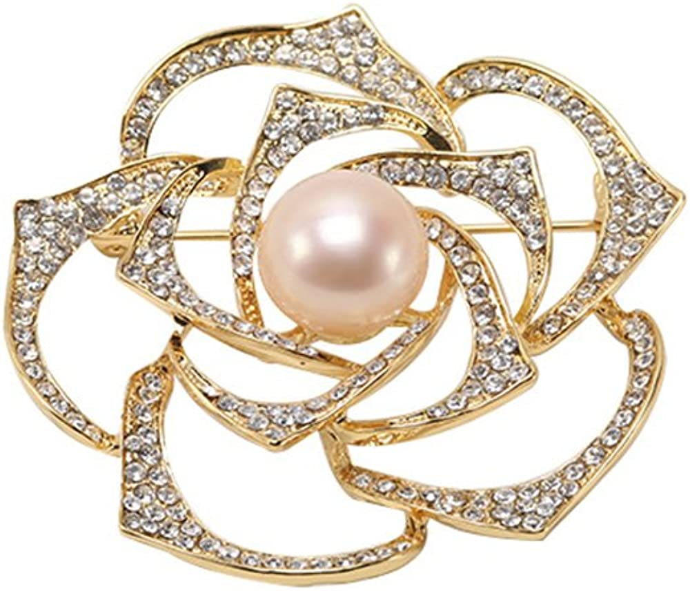 JYX Pearl Pin Flower Brooch 12mm Freshwater Pink Pearl Rose Brooch Pin for Women