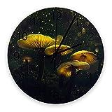 Setas en crecimiento Esporas revoloteando Grandes relojes de pared redondos de madera, dorado y oscuro Reloj de pared silencioso moderno para oficina, patio, sala de estar, decoración de 10 'de diámet