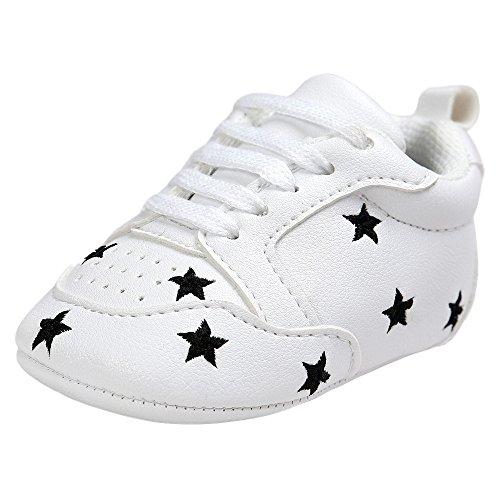 Fossen Recién nacido Bebe Zapatos Cuero artificial Zapatillas con Bordado Pentagram Suela Blanda Antideslizante Primeros pasos Para Bebé Niñas Niño (0-6 meses, Negro)