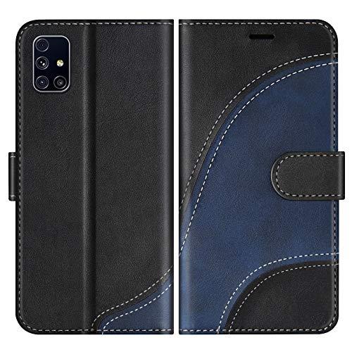 BoxTii Hülle für Galaxy M31S, Leder Handyhülle für Samsung Galaxy M31S, Ledertasche Klapphülle Schutzhülle mit Kartenfächer & Magnetverschluss, Schwarz