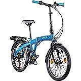 AGON Parklane 20 Zoll Klapprad Fahrrad Faltrad Klappfahrrad 20' StVZO 6 Gänge Urban Bike (blau, 33 cm)