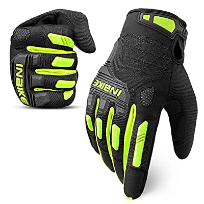 INBIKE MTB Mountain Bike Gloves Touchscreen with Thicken EVA Padded & TPR Knuckle Protection for BMX MX ATV Motorcycle
