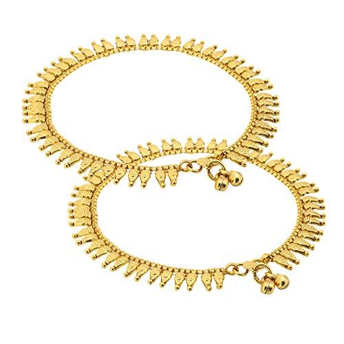 Adwitiya Collection Tobilleras hechas a mano de cobre chapado en oro para mujeres y niñas