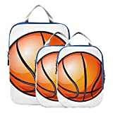 Cubos de embalaje Juego de viaje Baloncesto aislado en blanco Accesorios de viaje Cubos de embalaje expandibles para equipaje de mano, viajes (juego de 3)