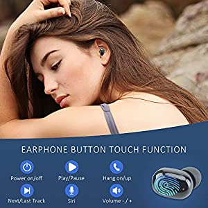 Mvgges Wireless Earbuds in-Ear Touch Control Bluetooth Headphones, Built-in Dual Mics Deep Bass Sound, USB-Mirco Charging Case Wireless Headphones DX5 (Black)