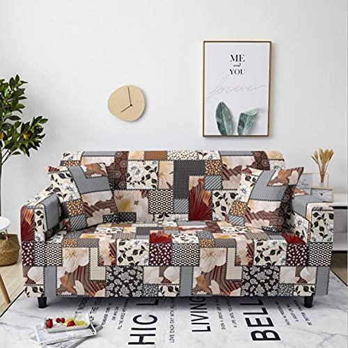 Tela Escocesa de Flores marrón Funda de sofá de 1 Plazas Funda Elástica para Sofá Poliéster Suave Sofá Funda sofá Antideslizante Protector Cubierta de Muebles Elástica