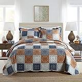 Qucover Tagesdecke Bettüberwurf 220x240cm, Patchwork Decke aus Mikrofaser, Bettüberwurf für Doppelbett, Sofadecke Gesteppt und Wattiert, 3 Teiliges Set mit 2 Kissenbezüge, Kariert Muster