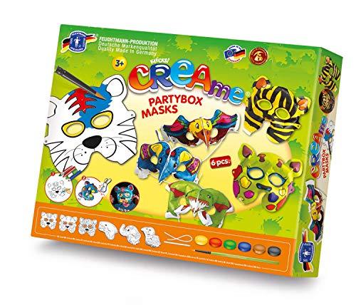 Feuchtmann Spielwaren 6347003 - CREAme Masken Partybox 6 verschiedene Masken zum Anmalen und Aufpusten, inkl. 6 Gummischnüren und Wassermalfarben