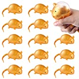 Biubee Pack of 12 Antistress Rat Splat Ball Vent Toy- Stress Relief Squeeze Squishy Golden Rat Splat Ball Tricky Toy, Decompression Sticky Stretchy Funny Smash Rat Venting Water Balls for Kids& Adults