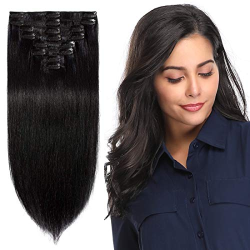 S-noilite Clip in Remy Human Hair Extension Short Hair Extension Clip on Full Head 8 Pieces/Set Very Soft Style Real Silky for Beauty Straight(10 Inch #1B Natural Black)