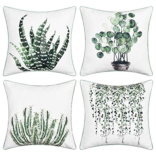 BLEUM CADE Green Plants Throw Pillow Cover Piping Pillow Cover Set of 4 Decorative Cushion Cover for Home Sofa Office Car (Green, 18 x 18 Inch)