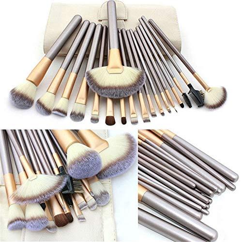 Outils de beauté cosmétiques professionnels Pinceau de maquillage 18pcs avec sac de couleur beige en PU beige (Color : Beige)