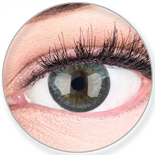 Glamlens SILICONE COMFORT SOFT Graue Farbige Kontaktlinsen Fresh Gray Grau ohne Stärke -Stark Deckend für Helle Dunkel Braune Schwarze Augen + Behälter - 2 Stück- DIA 14.50-0.00 Dioptrien