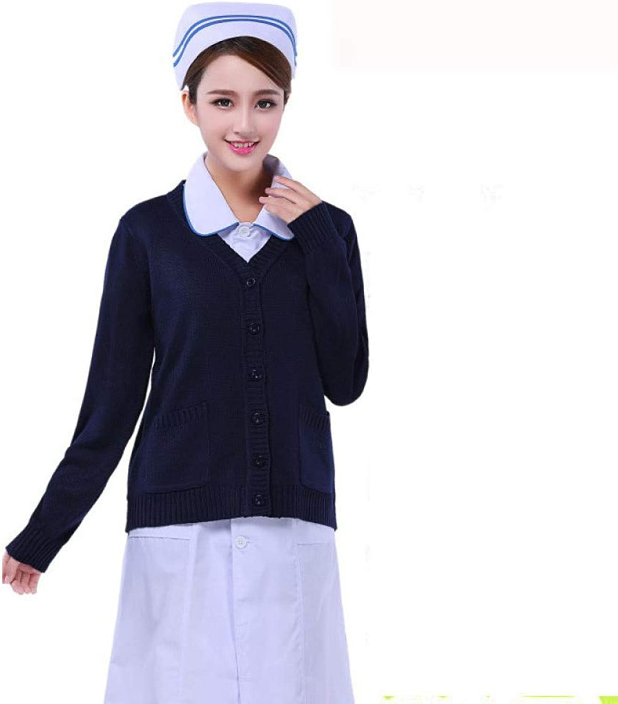 ESENHUANG Medical Nurse Cardigan Sweater Coat Hospital Uniforms Warm Sweater S