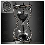 Black Antique Decorative Hourglass Sand Timer - 30 Minute, Unique Vintage 12 Constellations Metal Art Hour Glass for Office Desk Home Decor - Birthday Gift,Aquarius