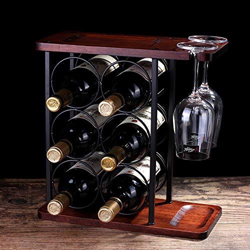 ACXZ Soporte para Copas de Vino de encimera Vintage, Soporte para Botellas, 6 Botellas y 2 Vasos, estantería de Vino de Barra de Cocina de Hierro rústico, 34,2 x 16 x 35 cm